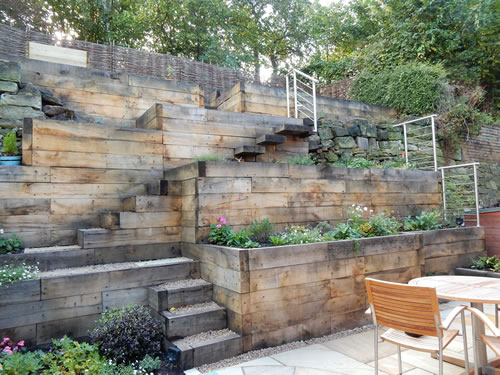 Steep slope garden designs garden designer staffordshire for Small sloping garden designs
