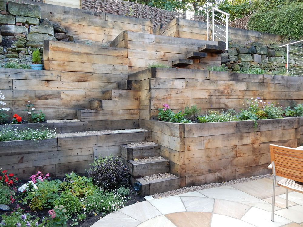 Steep slope garden designs garden designer staffordshire for How to design landscaping