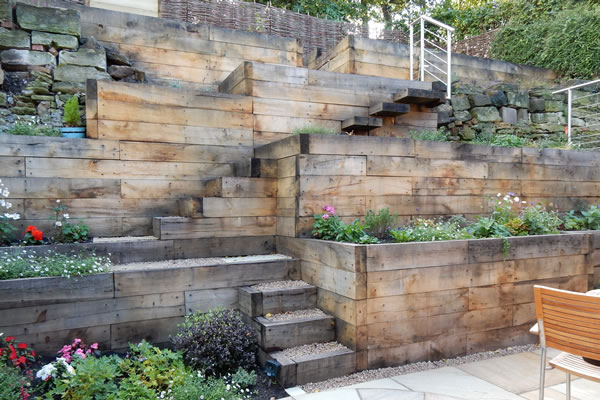 A garden design for a steep slope